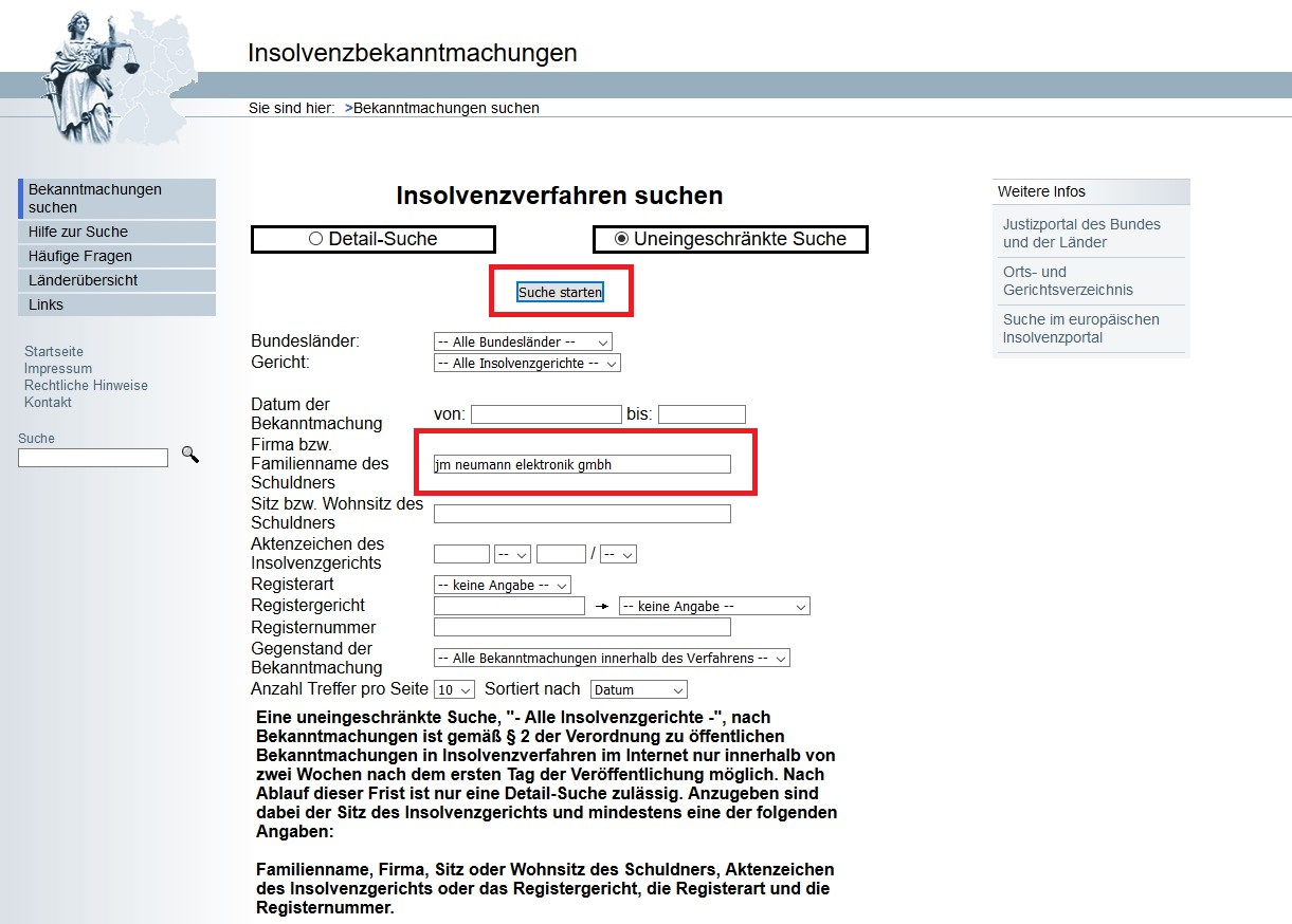 jm Neumann Elektronik GmbH Zahlungsunfähigkeit